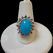 Sleeping Beauty Turquoise and Diamond Ring 18k
