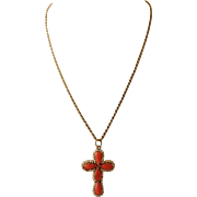 Coral and Pearl Cross on 14k Necklace