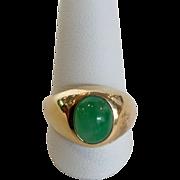 Jade Oval Signet Ring 14k