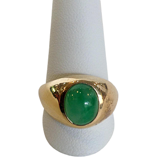 Jade Oval Signet Ring 14k