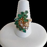 Emerald and Diamond Ring 10K