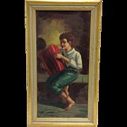 Accordion Player Oil Italy Circa 1900