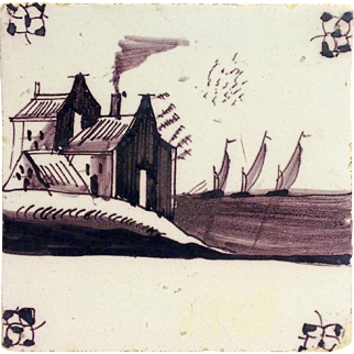 Antique Delft Tile Mulberry House and Ships