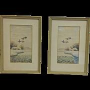 Pair Sudy Flying Duck Eastern Shore Watercolors