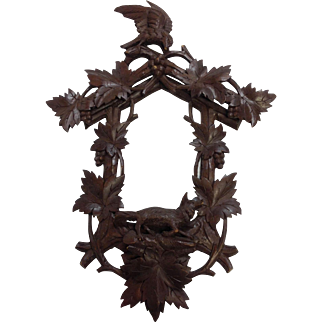 Black Forest Grandfather Clock Frame with Fox and Eagle