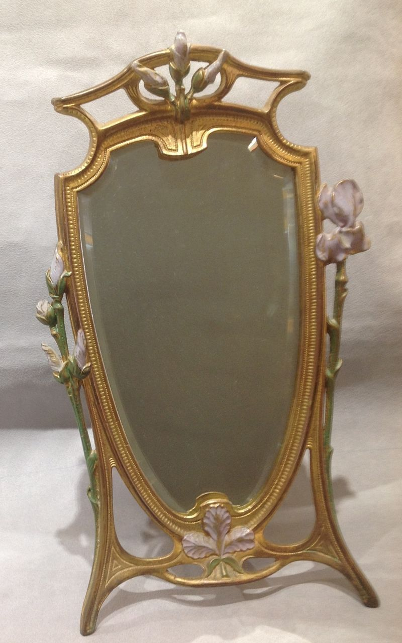 Art Nouveau Painted Mirror