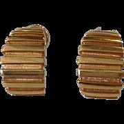 Large Geometric Ridged Earrings 14k Gold Clip 22 Grams