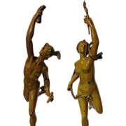 Spelter Statues of Mercury and Diana