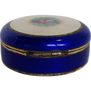 Cobalt Blue Enamel Powder Trinket Box