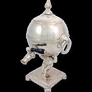Mappin & Webb Atlas And Globe Silverplate Tea Urn