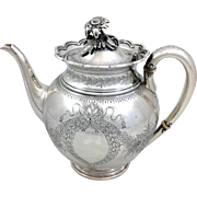 Tiffany Silver Engraved Flower Teapot c.1856