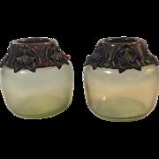 Pair Art Glass Jeweled Vases Bronze Mounts