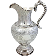Large William Gale Coin Silver Water Pitcher Rope Handle  12.5""