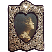 Heart Sterling Overlay Picture Frame Ca. 1895