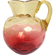 Victorian Cranberry To Amber Glass Pitcher