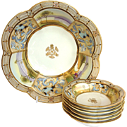 Nippon Scenic Berry Set Moriage Enameled Gold Decoration