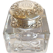Gorham Art Nouveau Sterling and Floral Crystal Inkwell