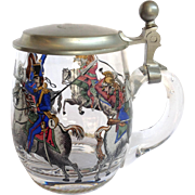 Cavalry Stein Pewter Lid Enameled Glass