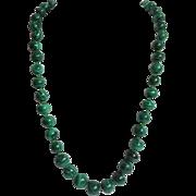 "Malachite Necklace Graduated Beads 24"""
