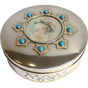 Sterling Jewelry Box Shreve with Portrait and Turquoise