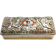 Sterling Cherub and Fairy Repousee Enamel Portrait Box by Gorham 'Mrs. Ehrich'
