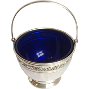 Sterling Sugar Basket With Cobalt Liner Webster