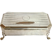 Jewelry Casket Footed English Sterling Circa 1919