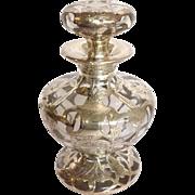 Silver Overlay Perfume Cologne Bottle Sterling