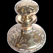 Silver Overlay Iris Perfume Bottle C. 1890