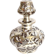 Sterling Overlay Perfume Rare Stopper Circa 1900