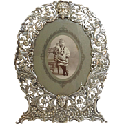 Cherubs Musicians and Hunters Figural Oval Frame 930 Silver Germany