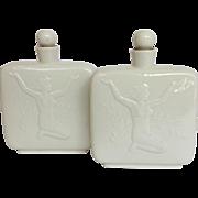 Pair Royal Copenhagen Nude and Swan White Cologne Bottles