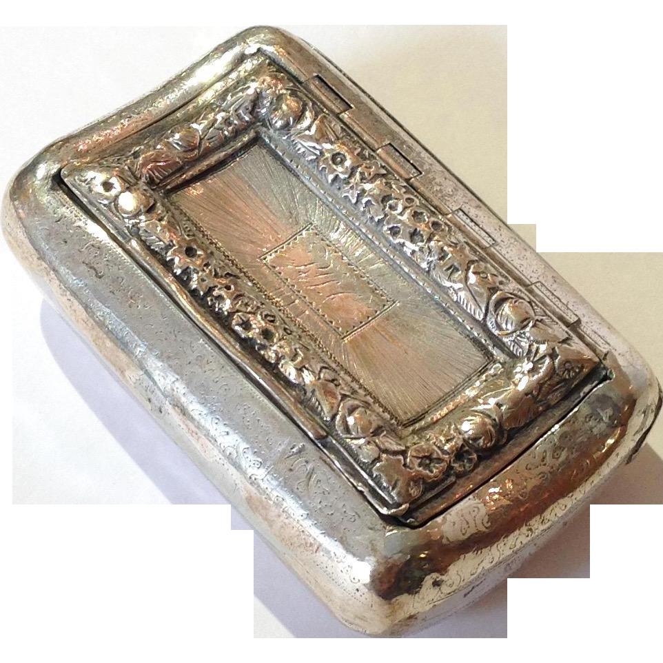 Joseph Willmore Sterling Snuff Box Mono RWC from antiquesofriveroaks on Ruby Lane