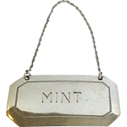 'Mint' Decanter Label Sterling