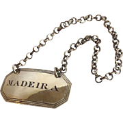 'Madeira' Decanter Label English Sterling