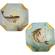 Pair of Hand Painted Limoges Fish Plates