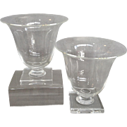 Pair Of Steuben Clear Glass Urns 6""