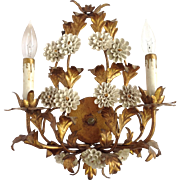 Gilt Metal Porcelain Flowers Wall Sconce