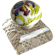 Enameled Iris Cut Glass Inkwell 900 Silver