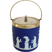 Wedgwood Biscuit Barrel Blue Jasperware