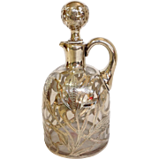 Gorham Sterling Overlay Wheat Whiskey Jug 1890's
