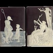 Black Jasperware Plaques Pair Of Haviland Limoges