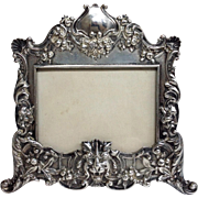 Gorham  Picture Frame Ornate Fruits Sterling 19th Century