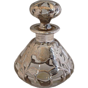 Overlay Sterling Perfume Bottle Antique