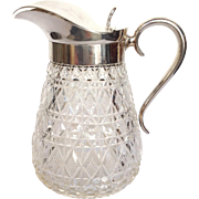Syrup Pitcher Cut Glass Silver Vintage