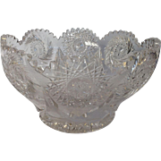 Cut Glass Bowl American Brilliant Period 1880's