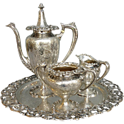 Rose Sterling Coffee Set and Round Tray by Bailey, Banks & Biddle 29 Ounces Troy