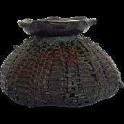 Old Copper Basket Antique Ink Well