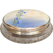 """Guilloche Enamel Lilies Dresser Jar English Sterling and Cut Glass 6"""""""