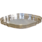 """Oval Gallery Tray England  Silver on Copper 12"""""""
